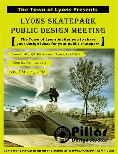 Please join us for the Lyons Skatepark Public Design Meeting