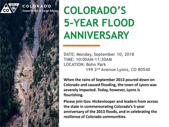 Hickenlooper to Commemorate 5-Year Flood Anniversary in Lyons
