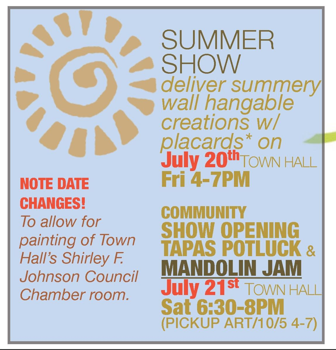 2018 REVISED SUMMER Town Hall Art Shows
