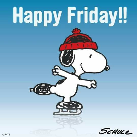 happy Friday Snoopy ice skating